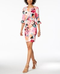 Nine West Floral Print Bell Sleeve Dress Orange