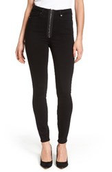 Good American Women's Waist Exposed Zip Skinny Jeans Black001