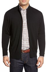Men's Peter Millar Tipped Merino Wool Zip Front Cardigan Black