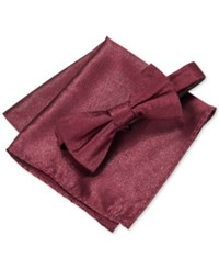 Alfani Men's Glitz Solid Bow Tie And Pocket Square Set Only At Macy's Burgundy