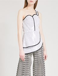 Huishan Zhang Sequinned Bustier Top White Black
