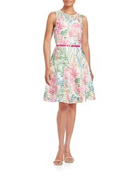 Gabby Skye Floral Fit And Flare Dress Ivory Pink