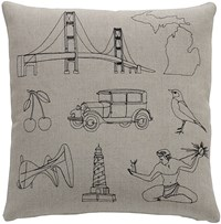 K Studio Michigan Pillow Small 18 X 18 Gray