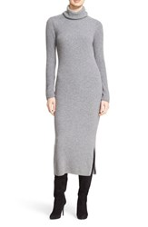 Alice Olivia Women's 'Gwen' Wool And Cashmere Ribbed Turtleneck Dress Charcoal