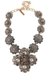 Oscar De La Renta Silver Tone Crystal Necklace Gold