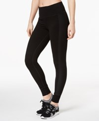 Ideology Mesh Trimmed Yoga Leggings Created For Macy's Classic Black