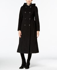 Anne Klein Hooded Double Breasted Maxi Coat Charcoal