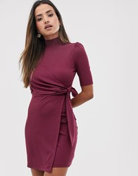 Fashion Union High Neck Bodycon Dress With Tie Front Wrap Detail Red