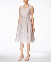 Jessica Howard Embroidered V Neck Fit And Flare Dress Silver Combo