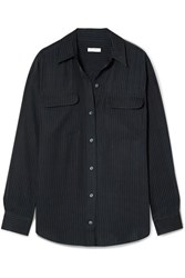 Equipment Signature Satin Jacquard Shirt Midnight Blue