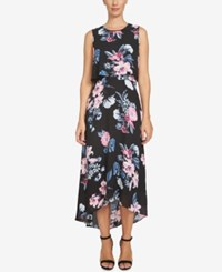 Cece Floral Print High Low Maxi Dress Rich Black