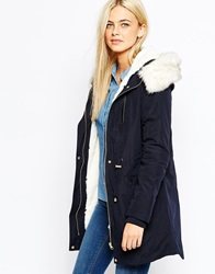 Oasis Premium Parka With Faux Fur Hood And Detachable Lining Navy