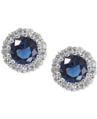 Giani Bernini Sterling Silver Blue Cubic Zirconia Halo Stud Earrings Only At Macy's