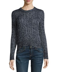 Rag And Bone Adira Marled Cable Knit Crewneck Sweater Navy