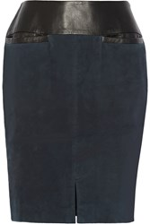 Ohne Titel Leather Trimmed Suede Skirt