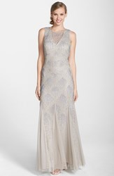 Women's Aidan Mattox Beaded Mesh Open Back Trumpet Gown