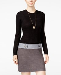 Amy Byer Bcx Juniors' Colorblocked Cable Knit Drop Waist Sweater Dress Black