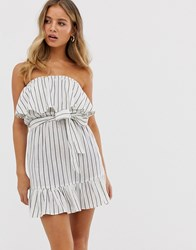 Influence Strapless Dress With Frill Detail In Stripe White