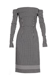 Preen Olivia Off The Shoulder Gingham Dress Black White
