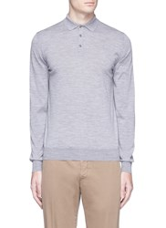 Lardini Wool Knit Long Sleeve Polo Shirt Grey