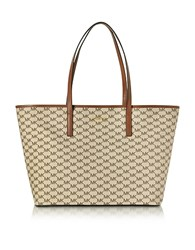 Michael Kors Emry Natural Luggage Coated Canvas Large Tz Tote Beige
