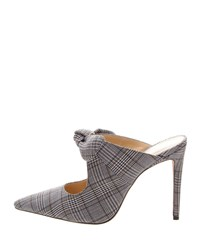 Alexandre Birman Evelyn Plaid And Houndstooth Mules With Bow Gray White