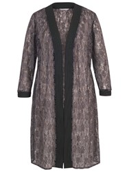 Chesca Floral Embroidered Lace Coat Wild Heather
