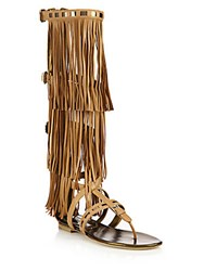 Brian Atwood Adriana Fringed Leather Flat Sandals Camel