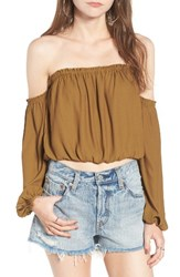 Lush Women's Off The Shoulder Blouse Olive Green