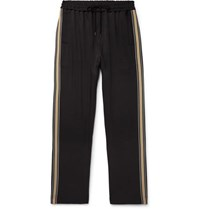 Cmmn Swdn Buck Striped Grosgrain Trimmed Tech Jersey Sweatpants Black