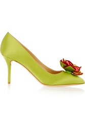 Charlotte Olympia Desiree In Bloom Satin Pumps Green