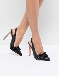 Lost Ink Black Pearl Detail Ruffle Heeled Shoes