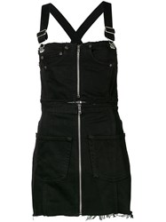 Re Done Zipped Denim Dunagaree Dress Black
