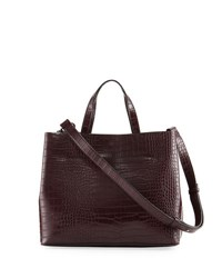 French Connection Alana Crocodile Embossed Tote Bag Brown