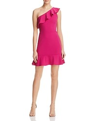 Aqua One Shoulder Ruffle Dress Fucshia