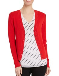 Ellen Tracy Solid Knitted Pointelle Trim Cardigan Tomato Red