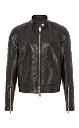 Versace Checked Leather Jacket Black