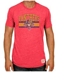Retro Brand Men's Florida Panthers Triblend Streak T Shirt Red