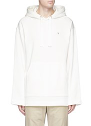 Acne Studios 'Florida' Face Patch Fleece Lined Hoodie White