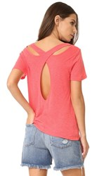 Splendid Cutout Tee Hot Coral