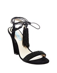 Betsey Johnson Faye Sequined Wedge Sandals Black