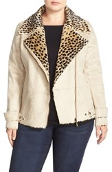 Plus Size Women's Kristen Blake Animal Print Faux Shearling Jacket