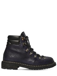 Guidi 1896 19 Crackled Leather Trekking Boots Purple
