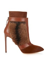 Francesco Russo Calf Hair And Leather Ankle Boots Brown