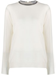 Brunello Cucinelli Embellished Crew Neck Jumper White