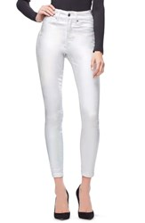 Good American Plus Size Legs High Waist Skinny Jeans Silver001