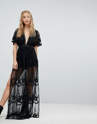 Kiss The Sky Plunge Maxi Playsuit With Sheer Embroidered Mesh Overlay Black