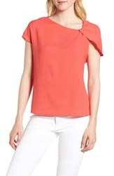 Trouve Asymmetrical Shoulder Top Red Hibiscus
