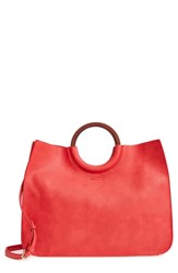 Bp. Wood Handle Faux Leather Tote Red