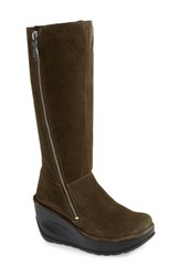 Fly London Jate Wedge Boot Sludge Oil Suede